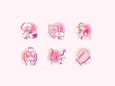 Women's Leadership woman female womens leadership gradient vector line icons