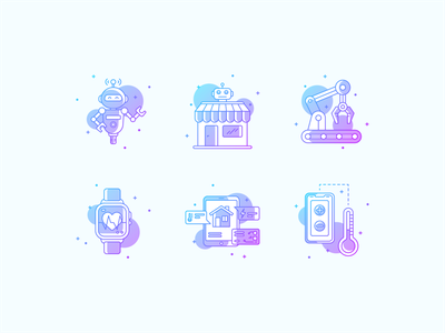 Internet of Things gradient house robot internet of things iot adobe illustrator icons color vector line