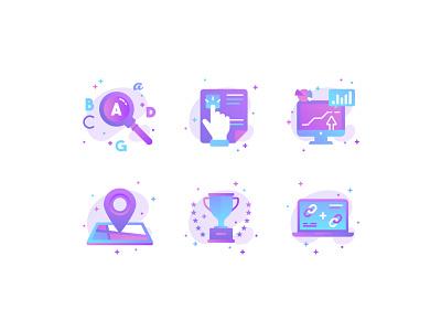 SEO Icons color seo gradient vector adobe illustrator icons