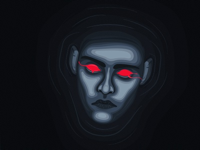 Drowning halftone drowning eyes bleeding head face character vector illustration 2d