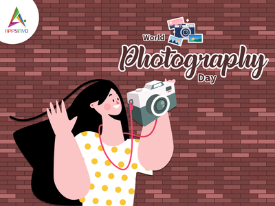 Appsinvo Wishes for Happy World Photography Day!! logo branding animation