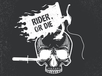 Ride Or Die skull or hard ride illustration extreme die death commute bike bicycle