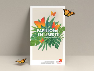 Papillons en liberté illustration vector plants butterflies butterfly graphic design poster design poster