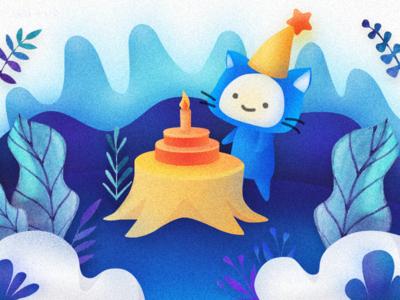 Birthday cat illustration design color blue birth
