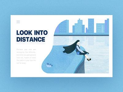 look into the distance white sky man illustration river design color blue 2d