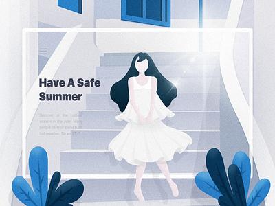 Summer summer man illustration illustrate girl design color 2d