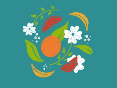 Fruit Snack leaves freestyle blue graphics dancing texture bright usdesigner flower designer design summer illustration drawing fruit
