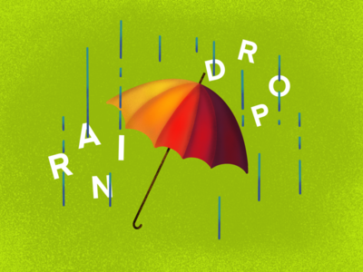 Rainy day in OH art graphicdesign adobe ilustrator adobe clean app concept typography type colorful gradient lines green texture bright illustration raindrop drop umbrella rain