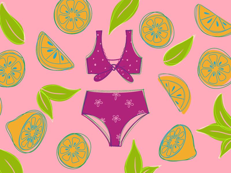 Summer zest 🍋💦 girl swimsuit swim loose sketch mockup adobe illustrator adobe app concept design lemon summer graphicdesign illustration