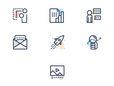 Service Icons multimedia seo marketing services icons