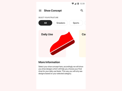 Shoe App animation flat ux vector illustration minimal eye catching app design ui interaction
