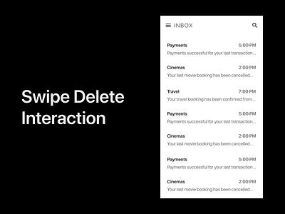 Inbox swipe delete minimal blur icon eye catching app ui design illustration vector effect animation interaction