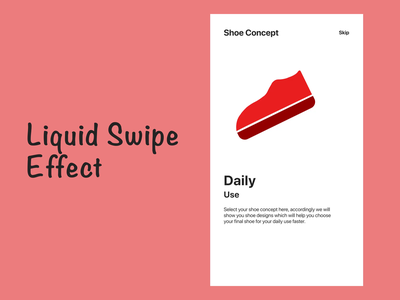 Shoe App Swipe Effect minimal flat illustration vector animation interaction eye catching app ui design