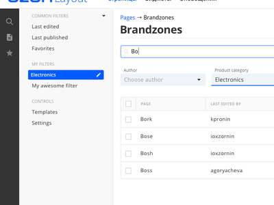 Custom Filters ux design design control panel manager search filters cms admin panel ui interface