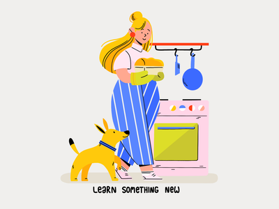 Stay home and ... happy bread owen girl dog bakery kitchen coronavirus stayathome character illustration 2d explainer flat stayhome stay
