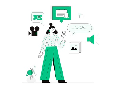 mobile explainer web uiux mobile ui minimalistic minimal flat girl flower schedule camera icon picture movie notifications notification chat camera phone mobile