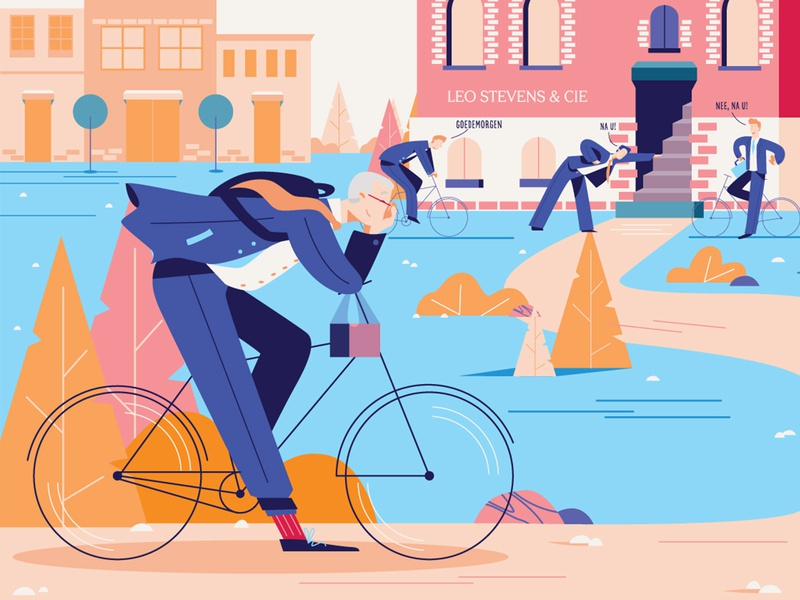 bicycle 2d art elegant businessman buildings flat suits suit man glasses bicycles bicycling bicycle