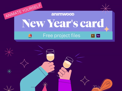 Free Project Files 2d explainer after effects vector cartoon illustration ux ui champagne happy free rig animation file free file freebies freebie new years eve new year