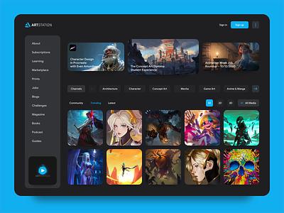 Artstation Redesign light theme dark theme web design dark ui