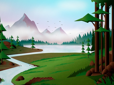 Lake in Forest flat green spring summer illustration mountain forest lake