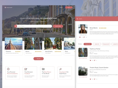 Concept Web Site - Around World profile ux ui sketch landing web city pink travel site
