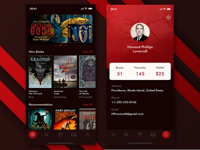 Free - Design of Reader App xd free app ios horror dark read book lovecraft brown red