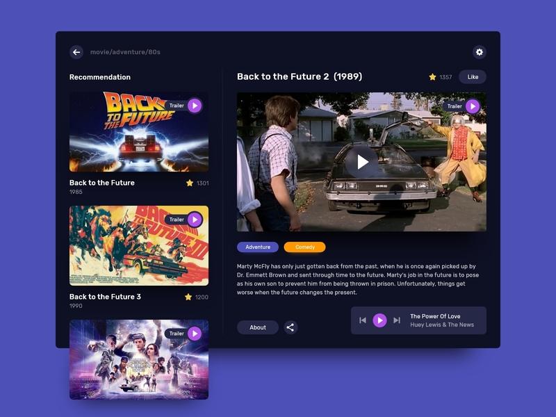 Movie player app violet blue player cinema movie app ipad dark