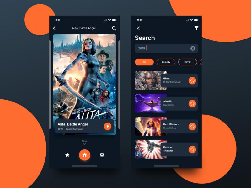 Cinema app ux ux designer ux-ui film cinema design ios ui dark app