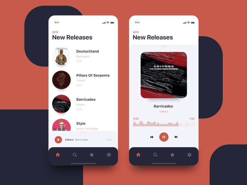 Music Player brand ux white clean player music ui design ios app