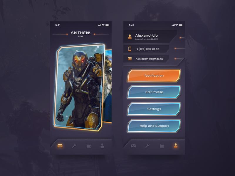 Games List App Concept lighting gradient sci-fi game dark design ux ui ios app