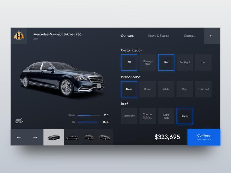 Web customize form UI maybach mercedes webdesigner website shopping grid buttons shop form ecommerce car blue web design ux ui dark