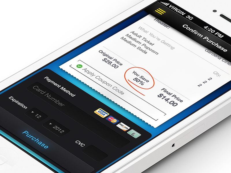 Confirm Purchase Screen and Full Project Review   ui app iphone slide movie showtime ticket