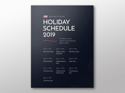 Holiday Schedule Poster