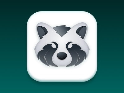 Raccoon Icon sketch graphism rebound logo icon grey gradient app icon app animal raccoon