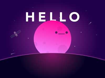 Hello from the moon ! debut first shot space planet moon illustration first hello