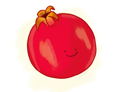 Pomegranate smiley cute red pregnancy baby fruit pomegranate illustration