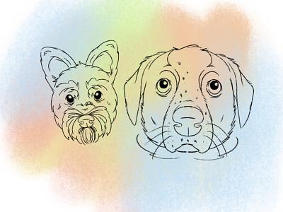 Doggos illustration graphic pets dog heads drawing procreate pet portrait k9 dogs