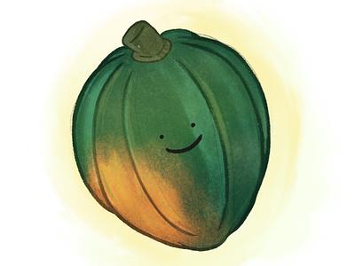 Acorn Squash illustration cartoon babies drawing smiley orange green acorn squash squash acorn vegetable cute baby