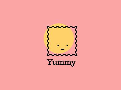 Happy Ravioli warm happy face smiley smile pasta illustration icon logo ravioli