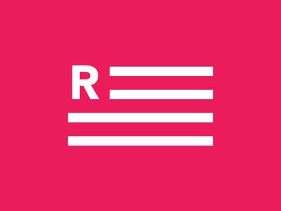 Letter Flag icon symbol logo r stripes flag letter