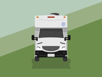 A Happy Camper graphic illustration wildreness outdoors recreation vehcile adventure camp glamping camping camper recreational vehicle