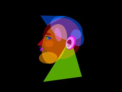 Geometric Self Portrait geometric profile face portfrait colorful shapes person illustration self portrait