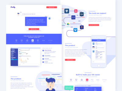 Landing page for Owlly (Slack Bot) chatbot website web slack productivity owl landing page illustration conversational ui bot artificial intelligence app