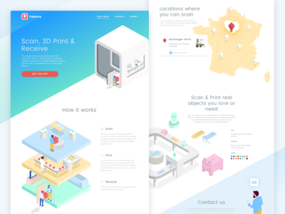 3D Scanner Box Landing Page colourful isometric website web illustration landing page scanner 3d printer 3d print