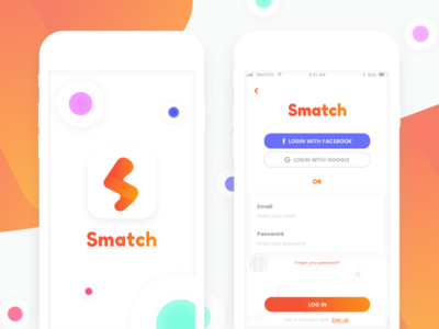 Sport Matching App ios android splash login ux ui app logo colourful clean sport match