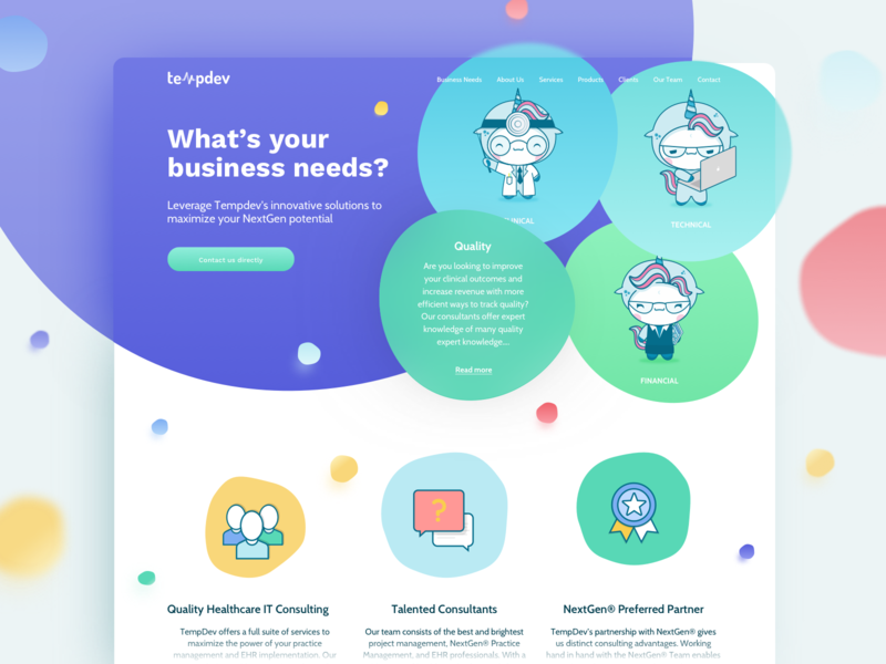 Healthcare Consulting Website buttons doctor web icons quality financial technical clinical colors business bubbles ux design ui landing page illustration colourful health