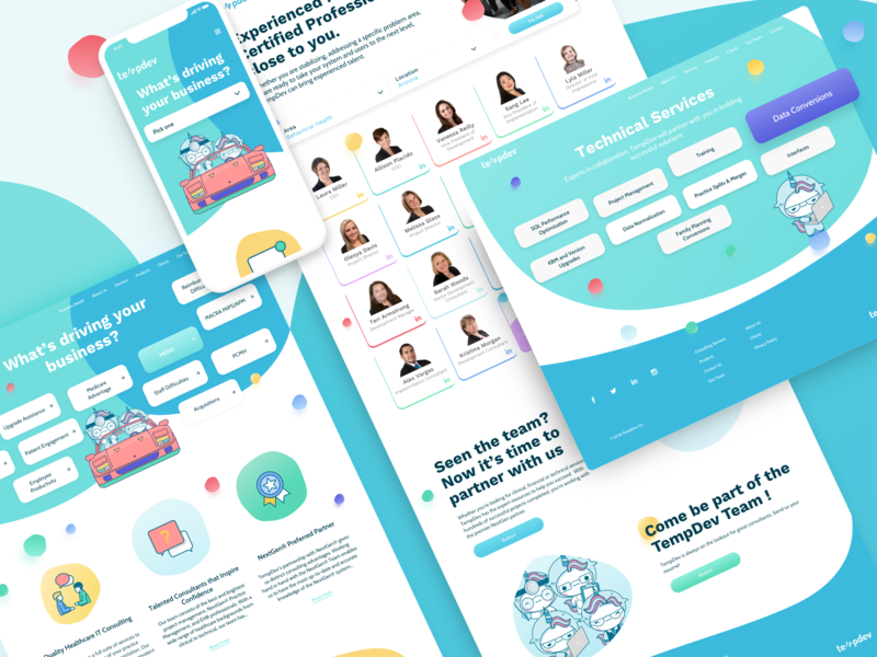 Healthcare Consulting Website tech quality icons health finance doctor clinic buttons business website web ux ui landing page design colourful illustration bubbles