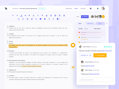 Law Business Platform ui colourful business lawyers law members team underlined writing tools tabs todo tasks comment comments edit editing smart online editor