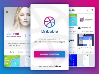 Dribbble App - Redesign sketch design colors flat android ios interface material design logo design profile splash list screen dribbble app redesign community user experience application ux ui app interface