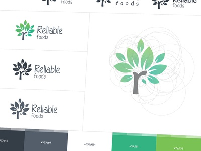 Reliable Logo Exploration branding identity color palette tree options golden ratio grid wireframe logo design negative shapes green shape exploration aamir mansuri wordmark